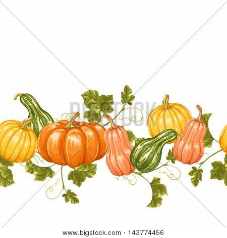 Seamless border with pumpkins. Decorative ornament from vegetables and leaves.