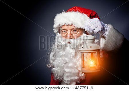santa claus classic portrait on gray background