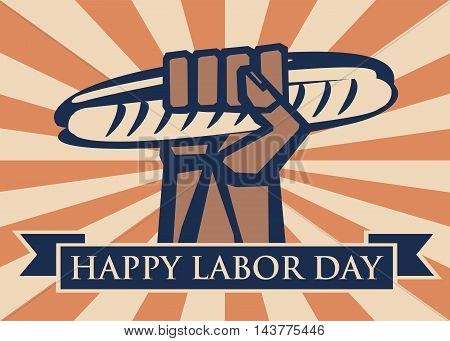 Labor Day background. Card Happy Labor Day. Illustration in a stamp style. Hand with hot-dog. Fully editable vector.
