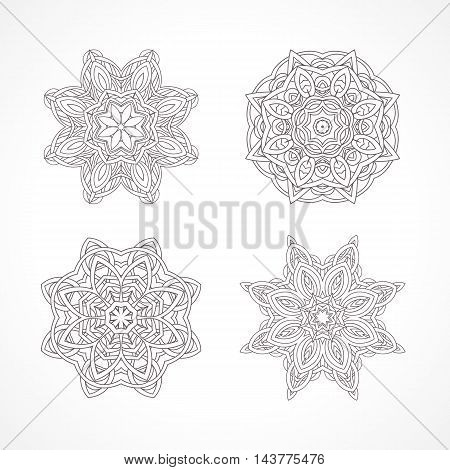 Mandala. Ethnic decorative elements Indian, Islam, arabic motifs. Round ornament with hand drawn vector pattern. Set of isolated on white amulet or charm