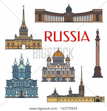 Historic sightseeings and buildings of Russia. Vector architecture detailed icons of Admiralty, Alexander Column, Palace Square, Kazan Cathedral, Christ the Saviour, Smolny Convent. Russian symbols for souvenirs, postcards, t-shirts, magnets