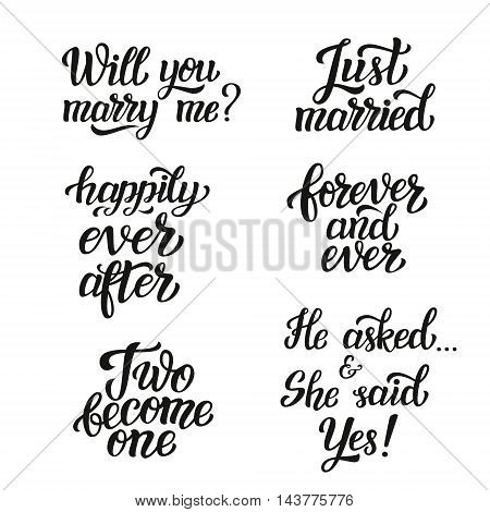 Hand Lettering Typography Wedding Set