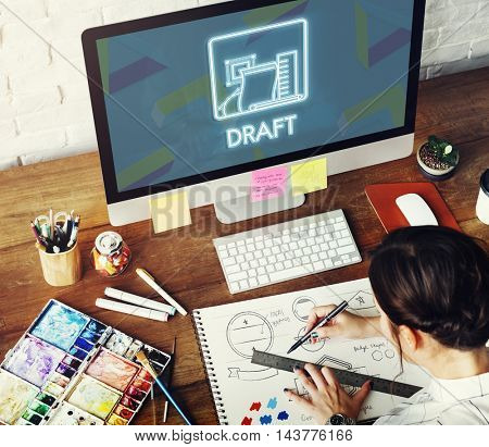 Draft Drawing Sketch Design Ideas Plan Creative Concept