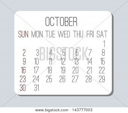 October 2016 plain vector monthly calendar. Week starting from Sunday. Clean light design over light gray background.
