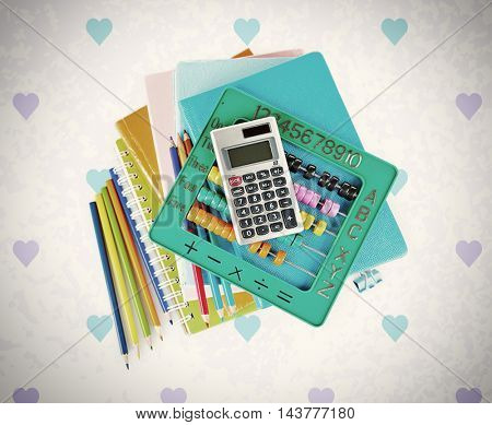 Colorful stationery, calculator, abacus and notebooks on color background. School concept.