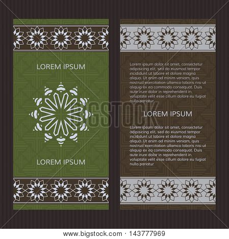 Set of two vector cards. Islamic design vector template.
