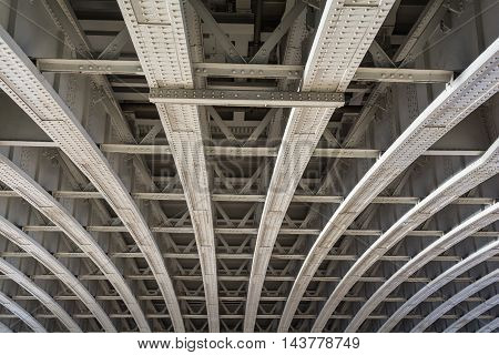 Construction detail of a Framework with curved steel girders