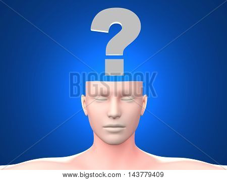 A generic questioning person. Question mark in the head. 3D rendered Illustration.