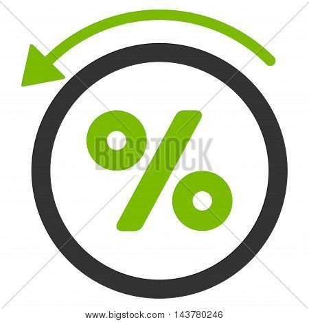 Rebate Percent icon. Vector style is bicolor flat iconic symbol with rounded angles, eco green and gray colors, white background.