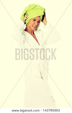 Beautiful spa woman in bathrobe.