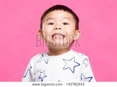 Asian kids doing a excited face