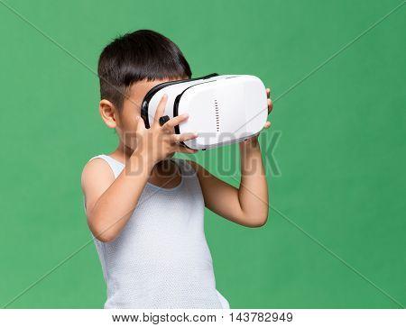 Little boy watching VR