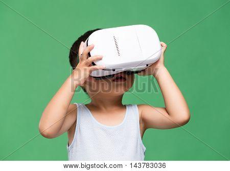 Asian kids wearing VR