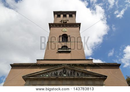 Copenhagen, Denmark - August 15, 2016: Exterior view of Vor Frue Cathedral