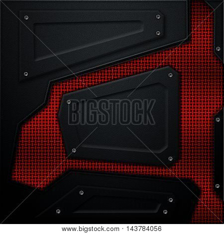 scifi wall. carbon fiber wall with red metallic mesh. metal background and texture 3d illustration. technology concept.