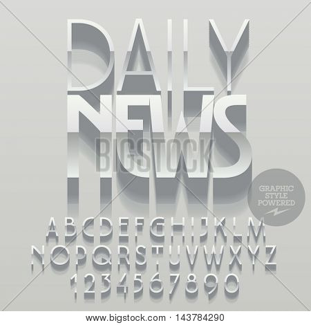 Set of glossy alphabet letters, numbers and punctuation symbols. Vector reflective silver poster with text Daily news. File contains graphic styles