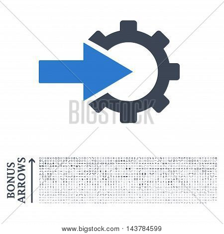 Cog Integration icon with 1200 bonus arrow and navigation pictograms. Vector illustration style is flat iconic bicolor symbols, smooth blue colors, white background.