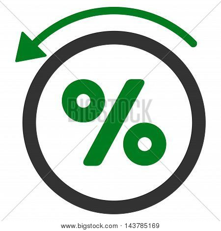 Rebate Percent icon. Vector style is bicolor flat iconic symbol with rounded angles, green and gray colors, white background.