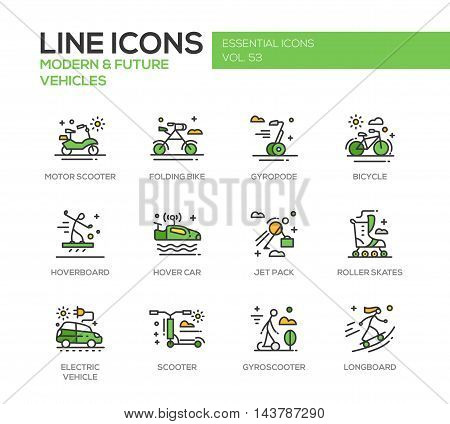 Modern and Future Vehicle - modern vector line design icons and pictograms set. Motor scooter, folding bike, gyropode, bicycle, hoverbord, hover car, jet pack, roller scates, scooter, gyroscooter, longboard