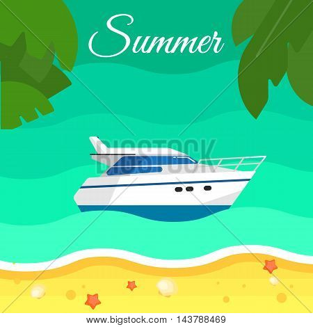 Summer background, vector illustration. Motor speedboat in water. Motorboat racing. Sand beach with palm leaves and starfish. Travel concept. Natural landscape. Racing yacht. Cruise vacation.