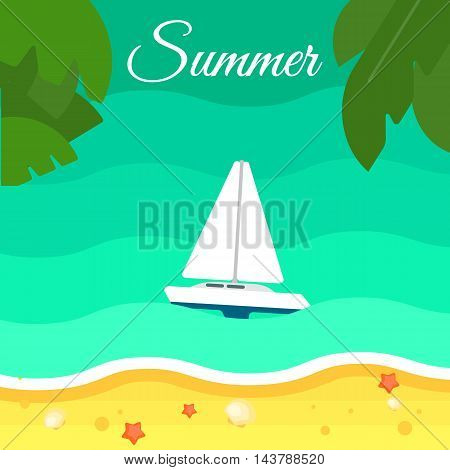 Summer background, vector illustration. Seascape with sailing yacht. Sand beach with palm leaves and starfish. Natural landscape. Racing yacht. Summer vacation. Travel concept. Outdoor leisure