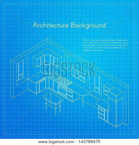 Vector isometric illustration of kitchen blueprint interior. Architectural background or project.