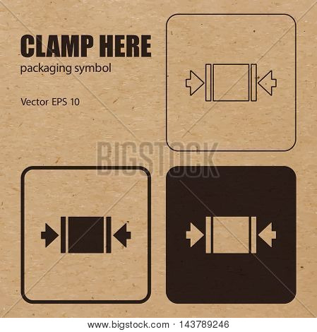 Different appearances of Clamp Here packaging symbol on craft paper background can be used on the box or packaging. Vector EPS 10.