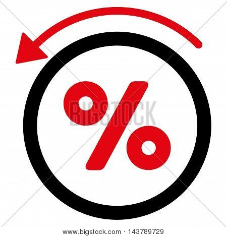 Rebate Percent icon. Vector style is bicolor flat iconic symbol with rounded angles, intensive red and black colors, white background.