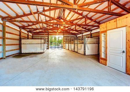 Wooden Interior Of Horse Stable.