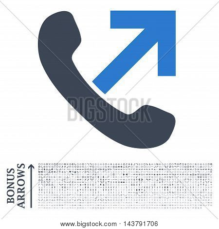 Outgoing Call icon with 1200 bonus arrow and navigation pictograms. Vector illustration style is flat iconic bicolor symbols, smooth blue colors, white background.