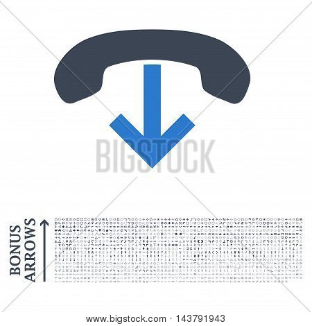Phone Hang Up icon with 1200 bonus arrow and navigation pictograms. Vector illustration style is flat iconic bicolor symbols, smooth blue colors, white background.