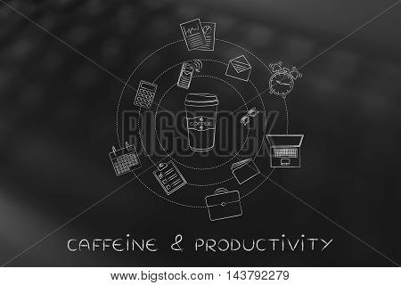 Coffee Tumbler And Office Objects, Caffein & Productivity