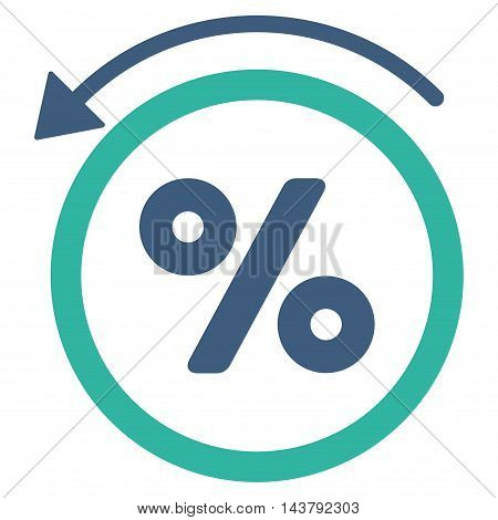 Rebate Percent icon. Vector style is bicolor flat iconic symbol with rounded angles, cobalt and cyan colors, white background.