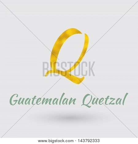 Symbol of the Guatemala Currency with Golden Texture.Vector EPS 10