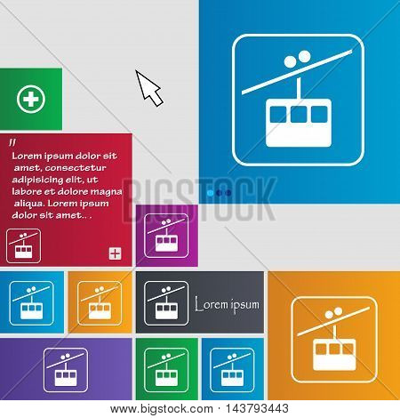 Cable Car Line Icon Sign. Buttons. Modern Interface Website Buttons With Cursor Pointer. Vector