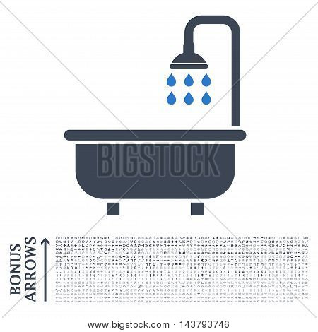 Shower Bath icon with 1200 bonus arrow and direction pictograms. Vector illustration style is flat iconic bicolor symbols, smooth blue colors, white background.