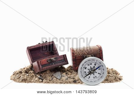 compass with treasure Chest on the soil white background