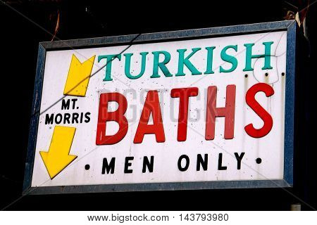 New York City - September 10 2005: Sign at the legendary Mt. Morris Baths a gay sauna on Madison Avenue in Harlem