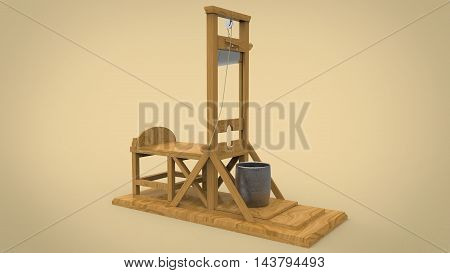 3d illustration of guillotine. yellow background isolated. icon for game web.