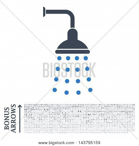 Shower icon with 1200 bonus arrow and direction pictograms. Vector illustration style is flat iconic bicolor symbols, smooth blue colors, white background.