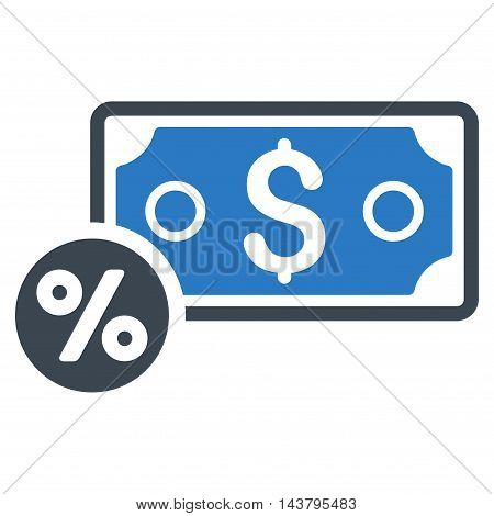 Banknote Percent icon. Vector style is bicolor flat iconic symbol with rounded angles, smooth blue colors, white background.