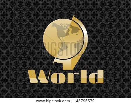 Globe in the art deco style of gold color on the background seamless pattern. Statuette in retro style. Vector illustration.