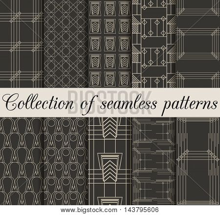 Art deco seamless patterns. Set of ten geometric backgrounds. Style 1920's 1930's. Vector illustration.