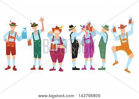 Oktoberfes people in lederhosen. Oktoberfest beer festival in Germany vector illustration. Oktoberfest concept. German Oktoberfest people. Oktoberfest cartoon characters.