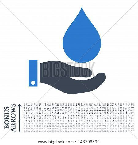 Water Service icon with 1200 bonus arrow and navigation pictograms. Vector illustration style is flat iconic bicolor symbols, smooth blue colors, white background.