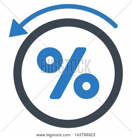 Rebate Percent icon. Vector style is bicolor flat iconic symbol with rounded angles, smooth blue colors, white background.