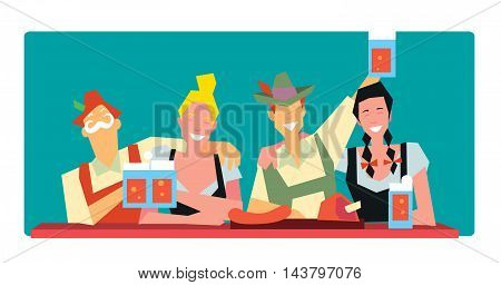 Oktoberfest beer festival in Germany vector illustration. Oktoberfest concept. German Oktoberfest people. Oktoberfest cartoon characters.