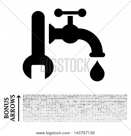 Plumbing icon with 1200 bonus arrow and direction pictograms. Vector illustration style is flat iconic symbols, black color, white background.