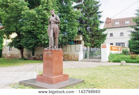 TULLN, AUSTRIA - JUN 3, 2016: Egon Schiele monument near the Museum dedicated to the famous Austrian painter on June 3, 2016. Egon Schiele was born in Tulln in 1890.