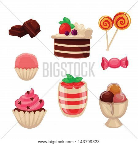 Set of sweets, cakes, cupcakes, candy and ice cream, cartoon style vector illustration isolated on white background. Yummy dessert decorative icons set. Cakes, cupcakes, ice cream, candies, lollipops